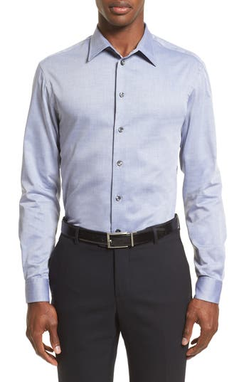 Men's Armani Collezioni Regular Fit Herringbone Sport Shirt