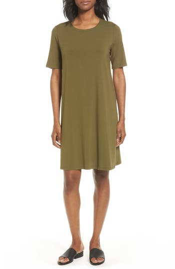 Eileen Fisher Jersey A-Line Dress, Green