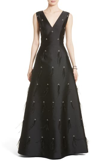 St. John Collection Hand Beaded Mikado Gown, Black