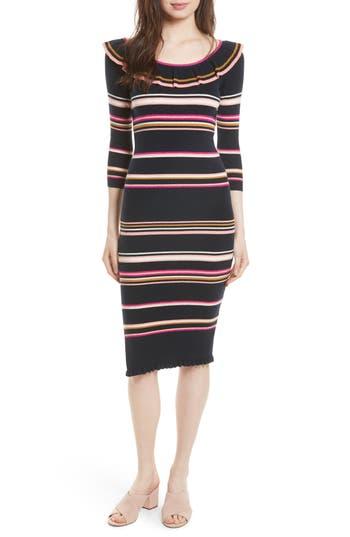 Rebecca Taylor Stripe Rib Knit Dress, Blue