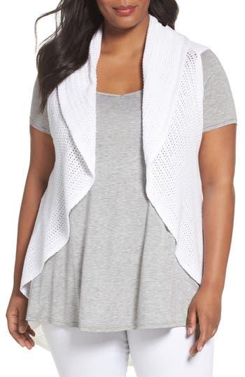 Plus Size Foxcroft Cotton Knit Circle Vest, White