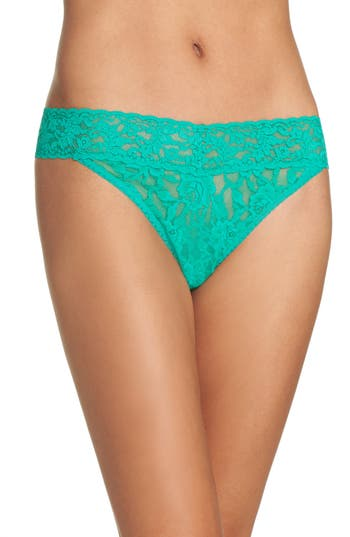 Women's Hanky Panky Regular Rise Lace Thong, Size One Size - Green