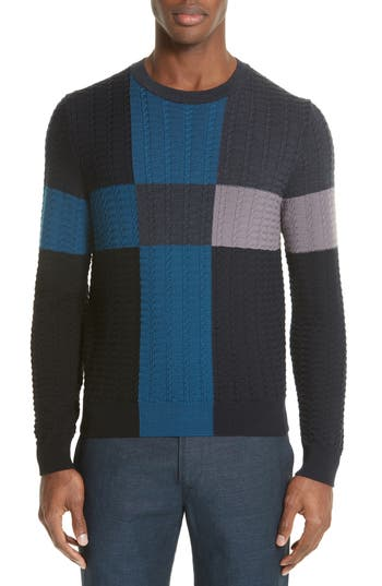 Paul Smith Colorblock Merino Cable Knit Sweater, Blue