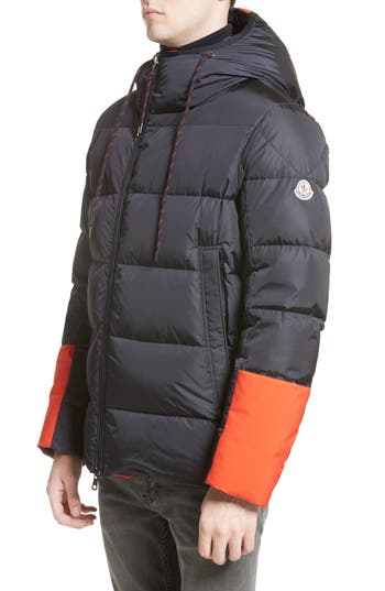 Moncler Drake Color Pop Hooded Down Coat, Blue