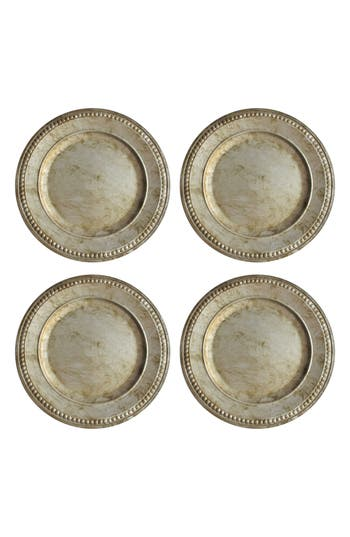 American Atelier Set Of 4 Beaded Antique Charger Plates, Size One Size - Metallic
