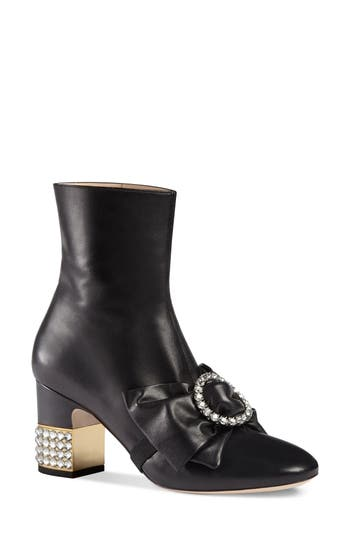 Gucci Candy Bow Crystal Bootie, Black