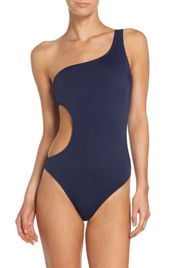 Women's Milly Guana Asymmetrical One-Piece Swimsuit, Size Small - Blue