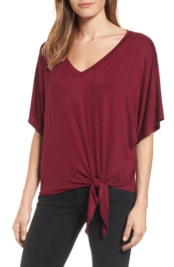 Michael Stars Tie Front V-Neck Tee, Size One Size - Burgundy