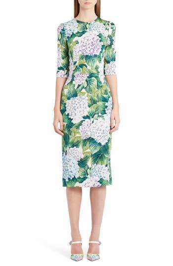 Dolce & gabbana Hydrangea Print Stretch Silk Dress, US / 44 IT - Green