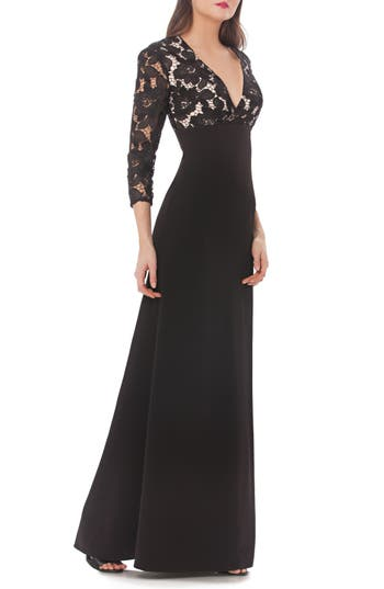 Js Collections Lace & Crepe A-Line Gown, Black