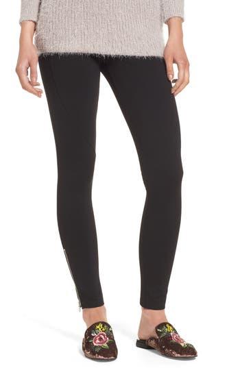 Lush Zipper Leggings, Black
