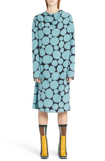 Marni Pebble Print Silk Crepe Dress, 8 IT - Blue