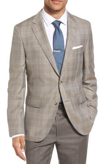 Boss Jeen Trim Fit Windowpane Wool Sport Coat, S - Beige