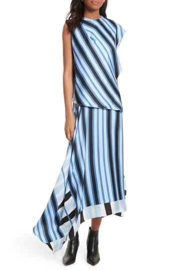 Diane Von Furstenberg Asymmetrical Stripe Silk Maxi Dress, Blue