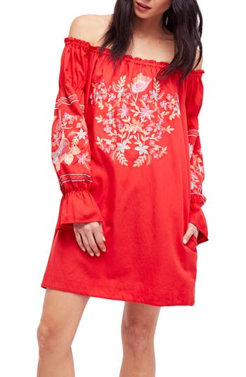 Free People Fleur Du Jour Shift Dress, Red