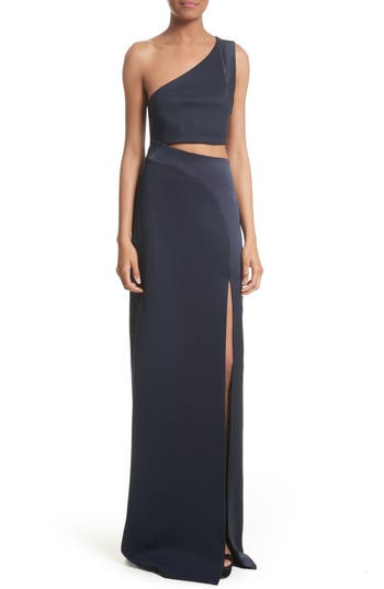 Galvan Cutout One-Shoulder Gown, US / 40 FR - Blue