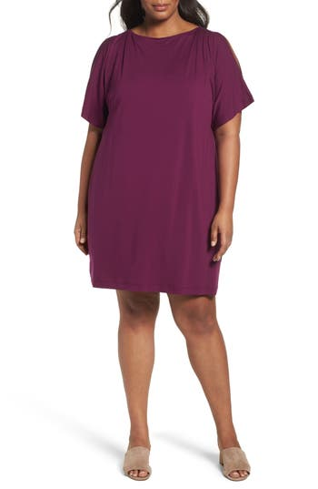 Plus Size Eileen Fisher Slit Sleeve Kimono Dress, Purple