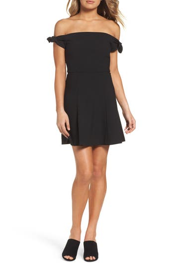 French Connection Whisper Light Fit & Flare Dress, Black