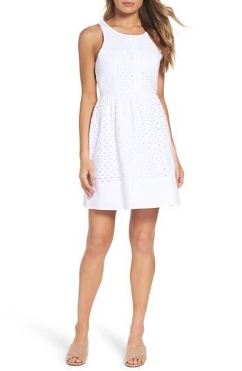 Nsr Eyelet Fit & Flare Dress, White