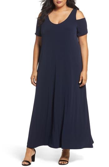 Plus Size Sejour Knit Cold Shoulder Maxi Dress, Blue