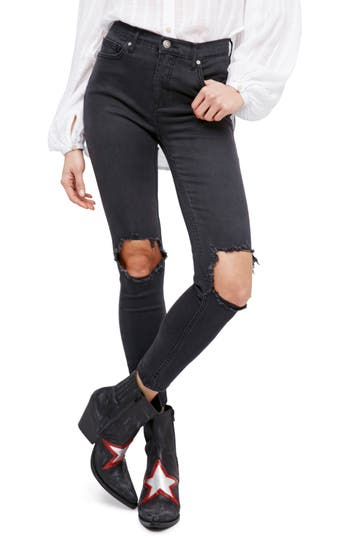 Free People High Rise Busted Knee Skinny Jeans, Black
