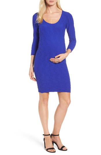 Tees By Tina Crinkle Maternity Sheath Dress, Size One Size - Purple