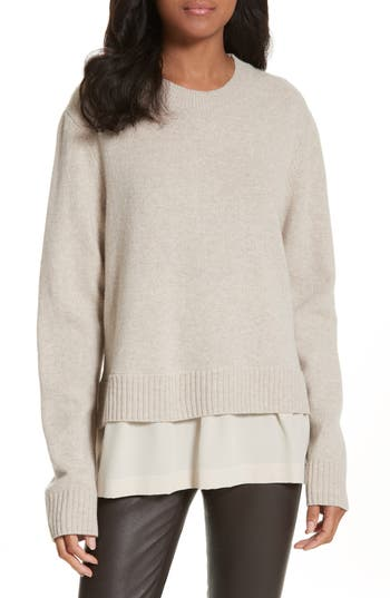 Joseph Layer Look Wool Blend Sweater, Beige