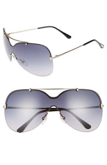 Tom Ford Ondria Gradient Lens Shield Sunglasses - Shiny Rose Gold/ Smoke