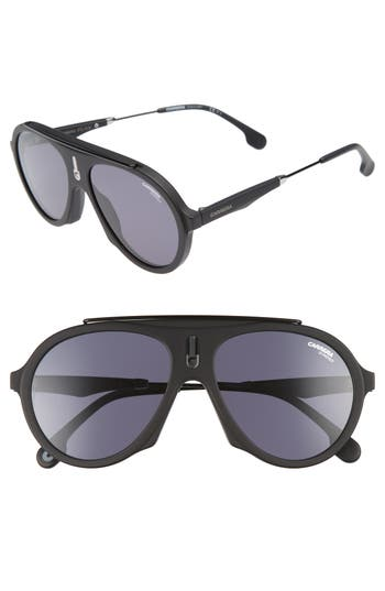 Carrera Flag 57Mm Mirrored Pilot Sunglasses - Matte Black