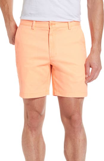 Men's Vineyard Vines 7 Inch Breaker Stretch Shorts, Size 30 - Orange