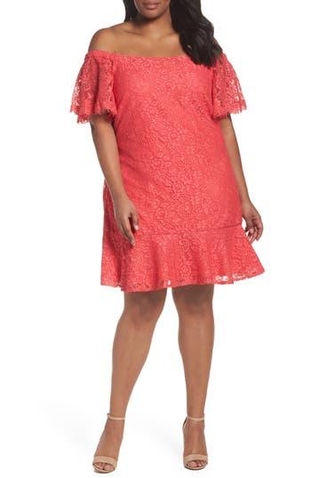 Plus Size Eliza J Flutter Sleeve Off The Shoulder Dress, Coral