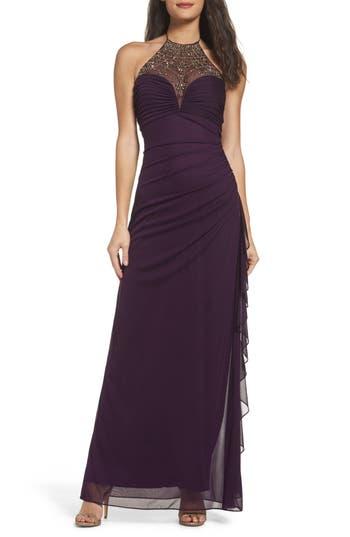 Blondie Nights Embellished Halter Gown, Purple