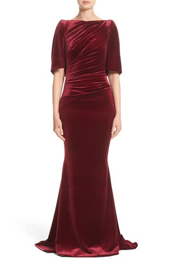 Talbot Runhof Velvet Mermaid Gown, Burgundy