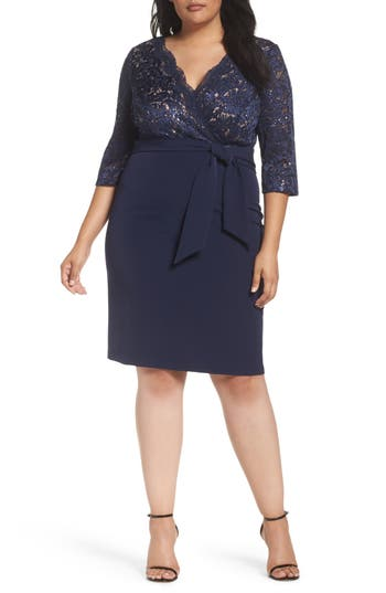 Plus Size Alex Evenings Mixed Media Surplice Sheath Dress, Blue