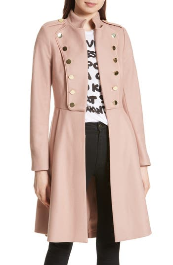 Women's Alice + Olivia Rossi Wool Blend Military Coat, Size Small - Beige