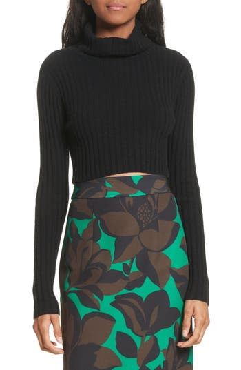 Women's Milly Crop Ribbed Cashmere Sweater, Size Petite - Black