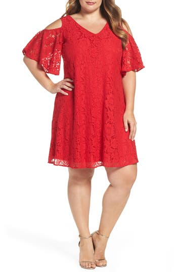 Plus Size Gabby Skye Cold Shoulder Lace Trapeze Dress, Red