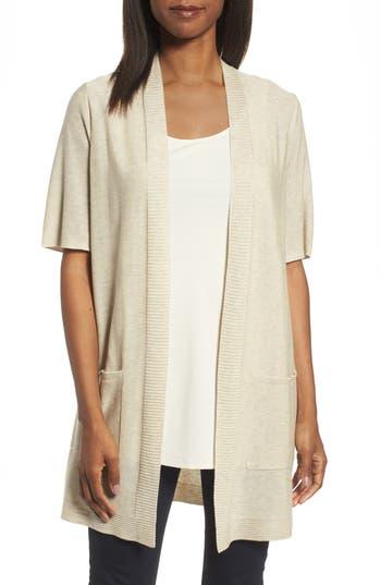 Eileen Fisher Simple Tencel & Merino Wool Cardigan, Beige
