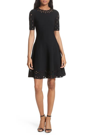 Women's Milly Pointelle Detail Knit Fit & Flare Dress, Size Small - Black