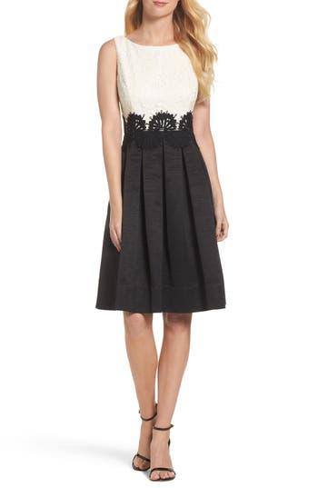 Eliza J Embroidered Lace Fit & Flare Dress, Black