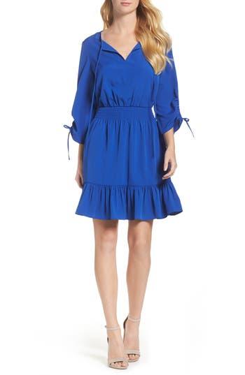 Eliza J Woven Blouson Dress, Blue