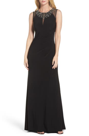 Vince Camuto Embellished Gown, Black