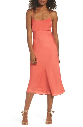 Women's Nsr Satin Midi Dress, Size Medium - Red
