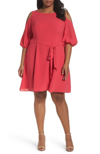Plus Size Adrianna Papell Gauzy Crepe Cold Shoulder Dress, Pink