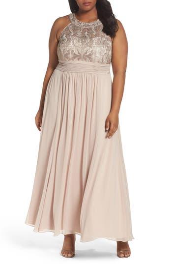 Plus Size Eliza J Embellished Lace & Chiffon Gown, Ivory