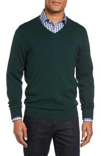 Big & Tall Nordstrom Shop V-Neck Merino Wool Sweater, Green