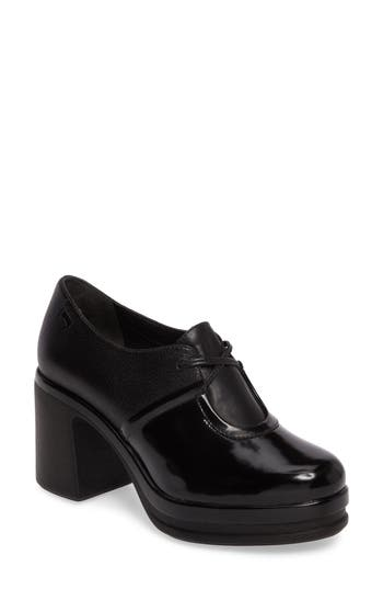 Camper Alice Flared Heel Platform Pump Black