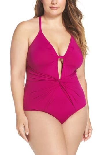 Plus Size La Blanca Twist Front One-Piece Swimsuit, Pink