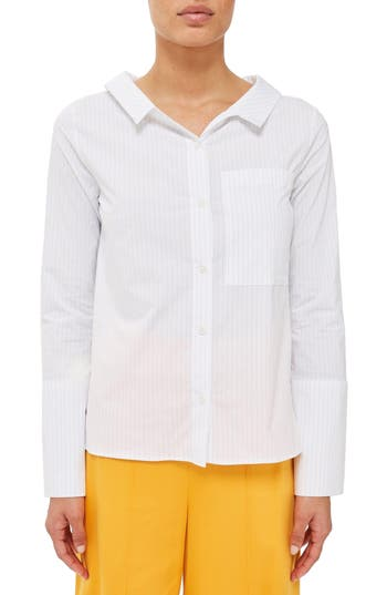 Women's Topshop Boutique Tie Back Stripe Shirt