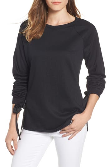 Caslon Tie Ruched Sleeve Sweatshirt, Black